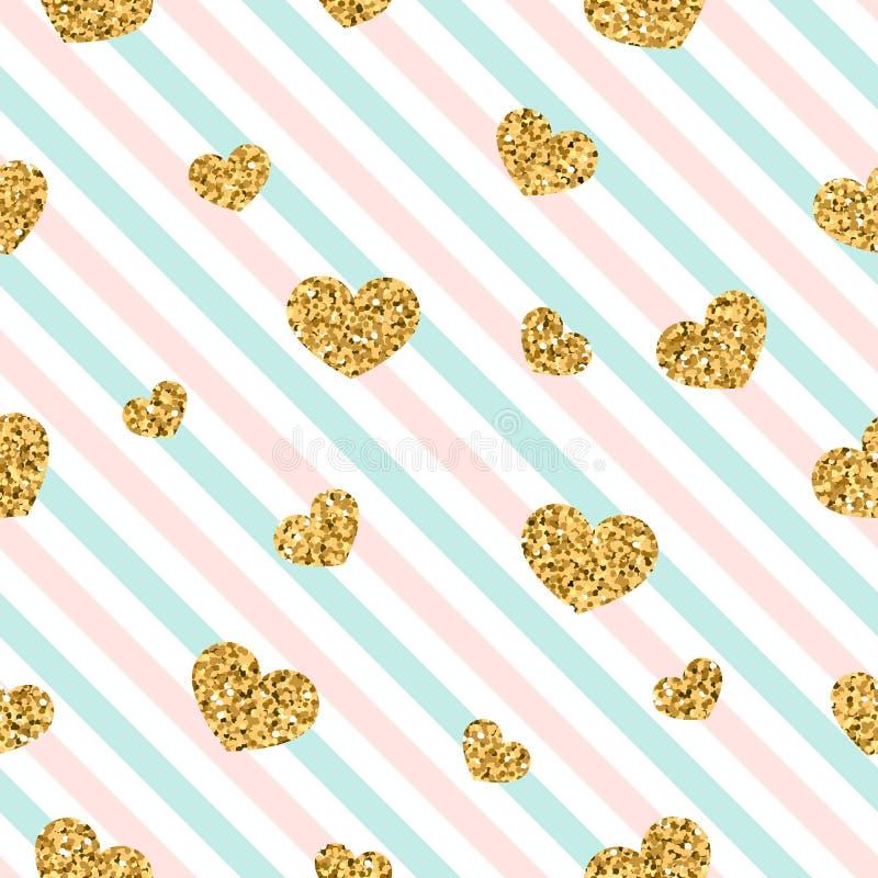 金心脏无缝的样式 桃红色蓝色白的几何条纹,金黄五彩纸屑心脏 爱,情人节的标志 向量例证