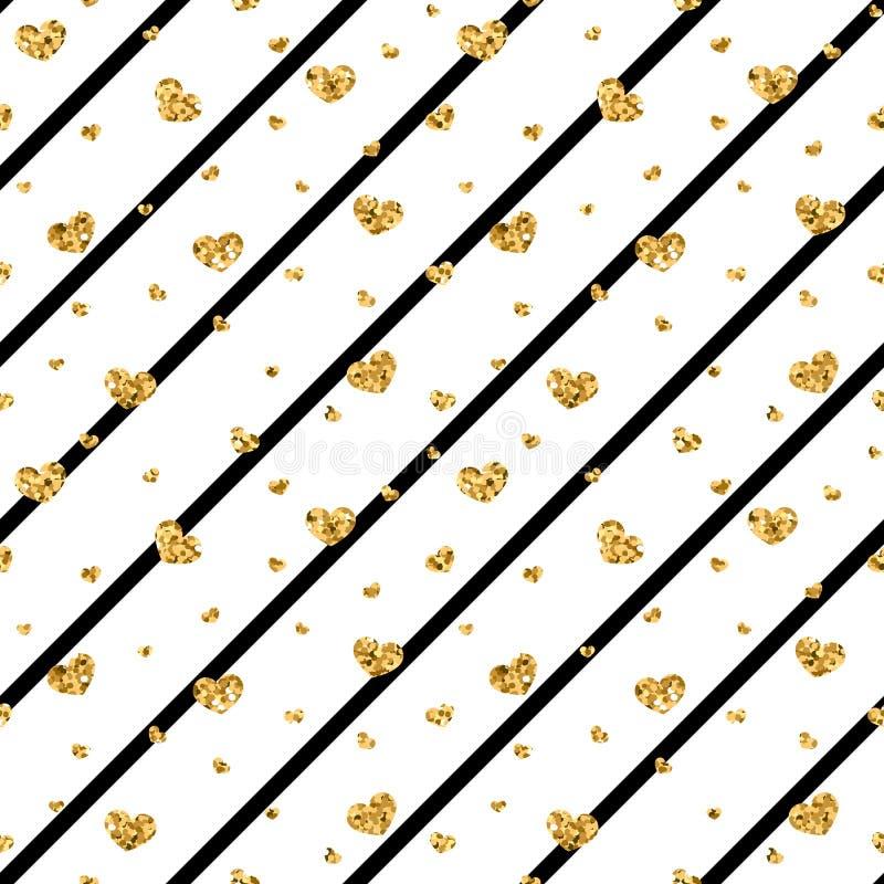 金心脏无缝的样式 黑白的几何条纹,金黄五彩纸屑心脏 爱,情人节的标志 库存例证