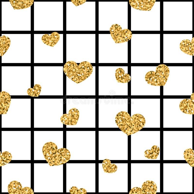 金心脏无缝的样式 黑白的几何正方形,金黄五彩纸屑心脏 爱,情人节假日的标志 皇族释放例证