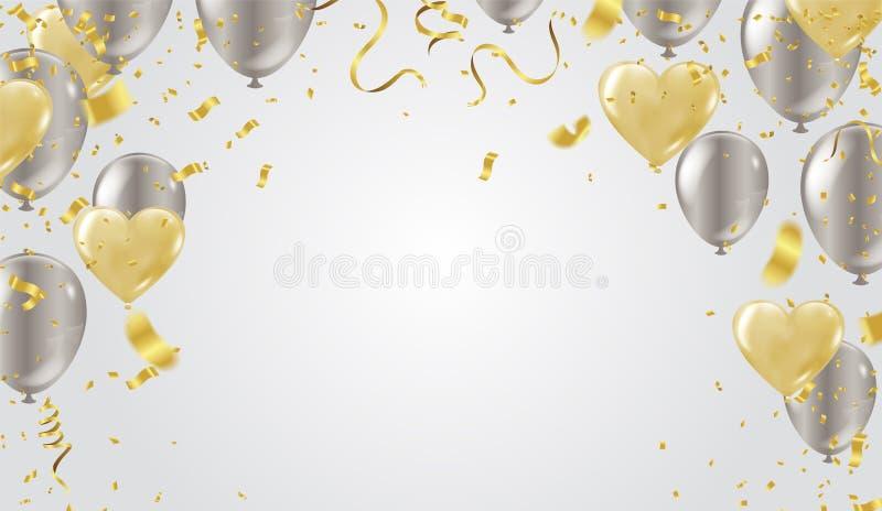 金心脏气球和气球银色情人节背景 库存例证