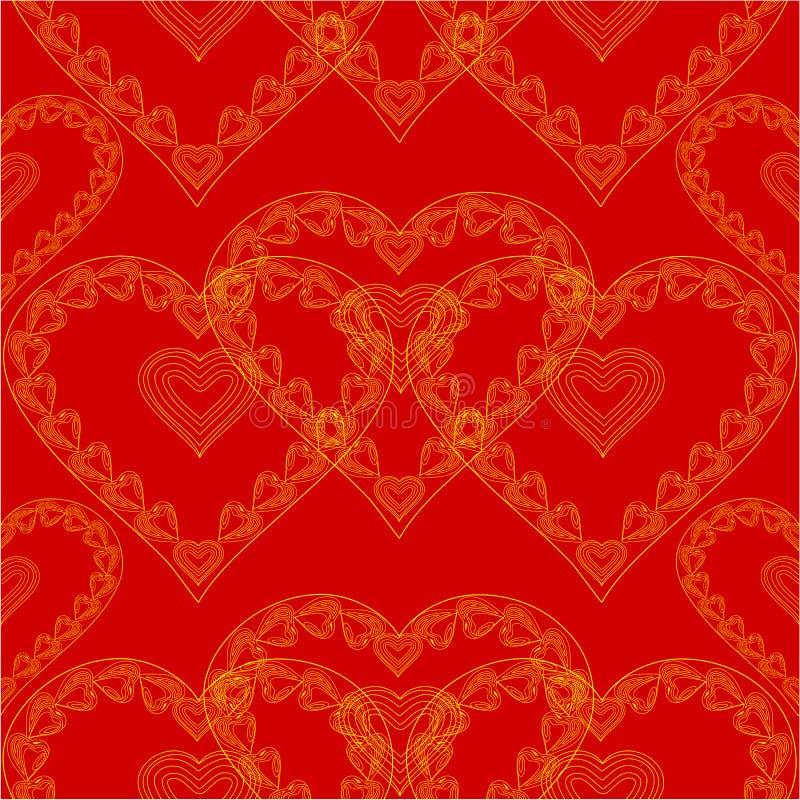 金心脏红色背景传染媒介情人节无缝的纹理  向量例证