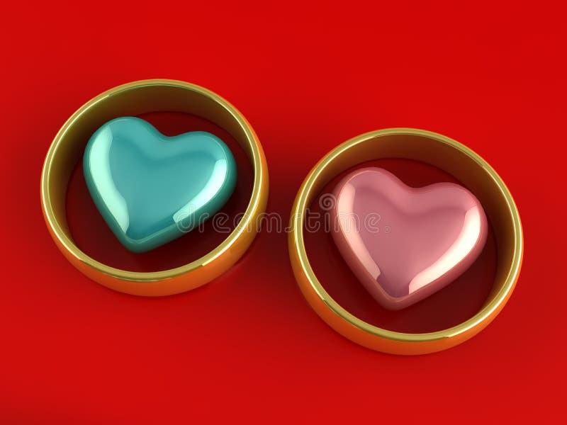 金戒指心脏 向量例证