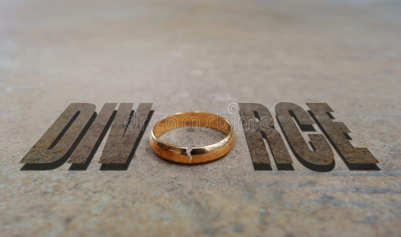 金戒指离婚 库存照片
