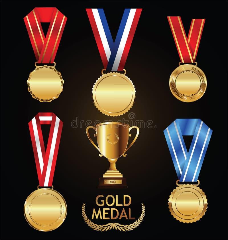 金战利品和奖牌与月桂树缠绕传染媒介汇集 库存例证