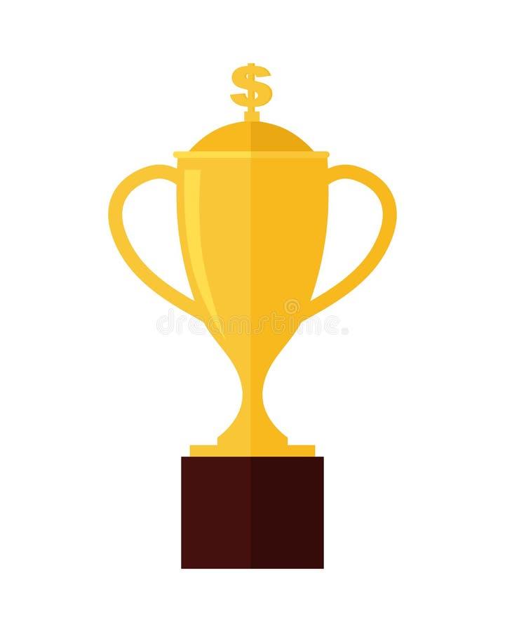 金战利品在白色隔绝的杯奖 向量例证