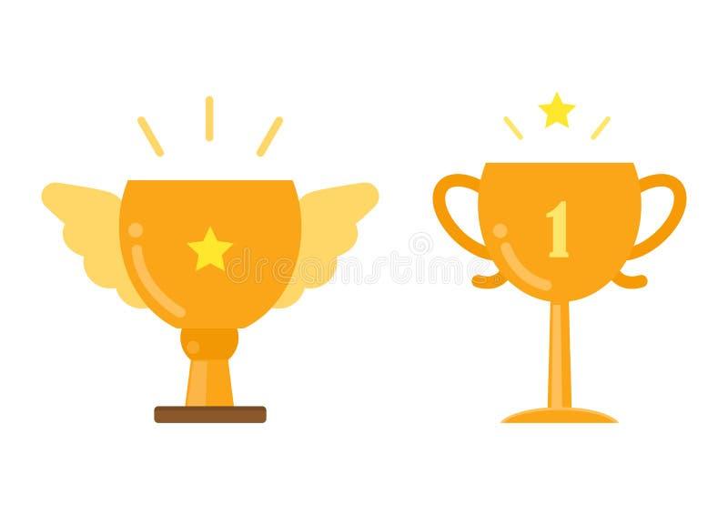 金战利品杯子象,优胜者成就概念,传染媒介illust 向量例证