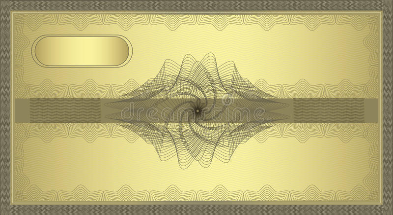 金扭索状装饰凭证 免版税库存照片