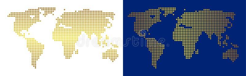 金抽象世界地图 向量例证