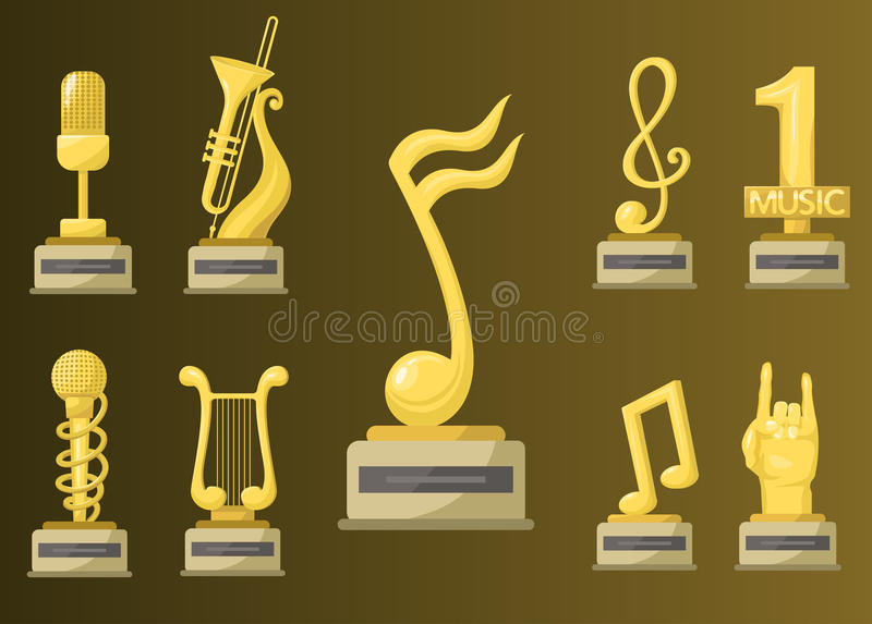 金摇滚明星战利品音乐笔记最佳的娱乐胜利成就谱号和合理的发光的金黄