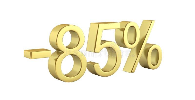 金文本85%没有在白色背景的阴影与反射3D回报 向量例证