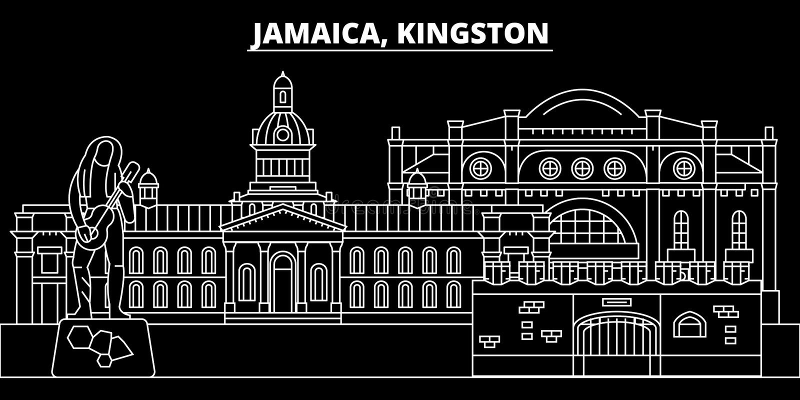 金斯敦剪影地平线 牙买加-金斯敦传染媒介城市,牙买加线性建筑学,大厦 金斯敦旅行 库存例证