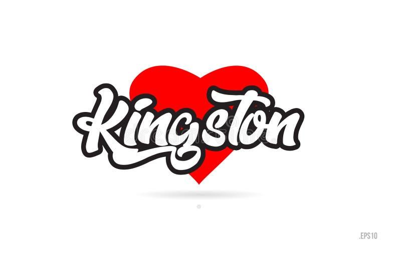 金斯敦市与红色心脏象商标的设计印刷术 向量例证