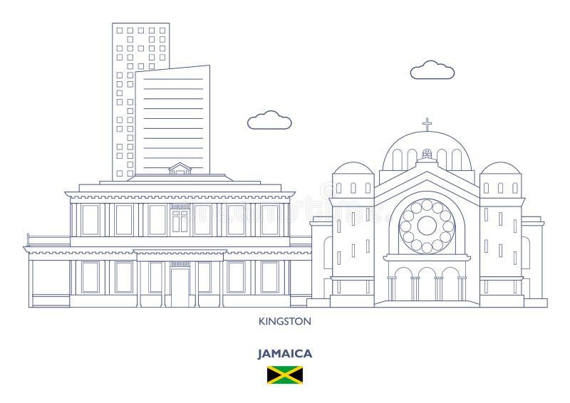 金斯敦市地平线,牙买加 皇族释放例证