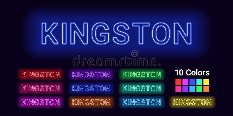 金斯敦市的霓虹名字 皇族释放例证