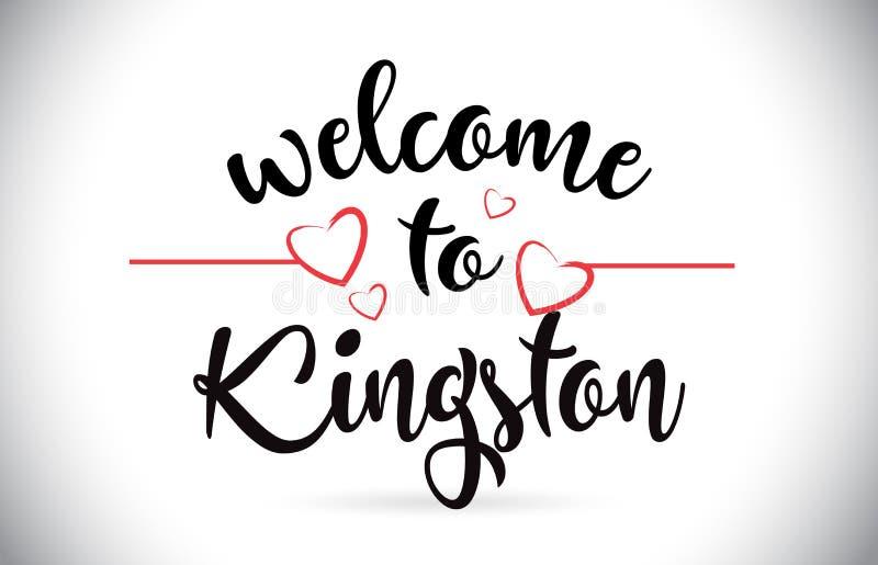 金斯敦欢迎到消息与不适红色爱的心脏的传染媒介文本 皇族释放例证