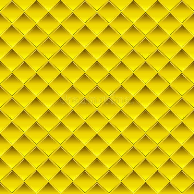 金方形的板材无缝的样式 向量例证