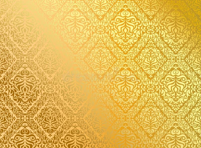 金无缝的墙纸 向量例证