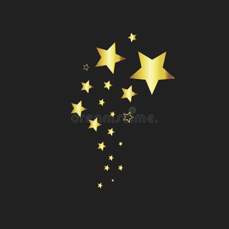 金星形 星设计纹身花刺 星象传染媒介 假日平的设计 在黑背景的金星 向量例证
