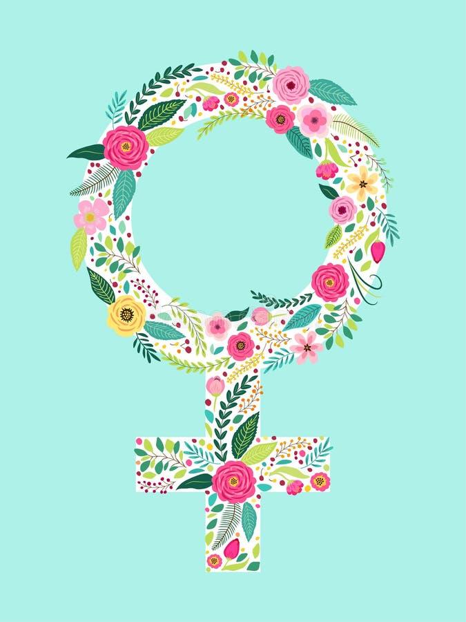 金星的美好的花卉女性标志作为女性性别标志的 库存例证