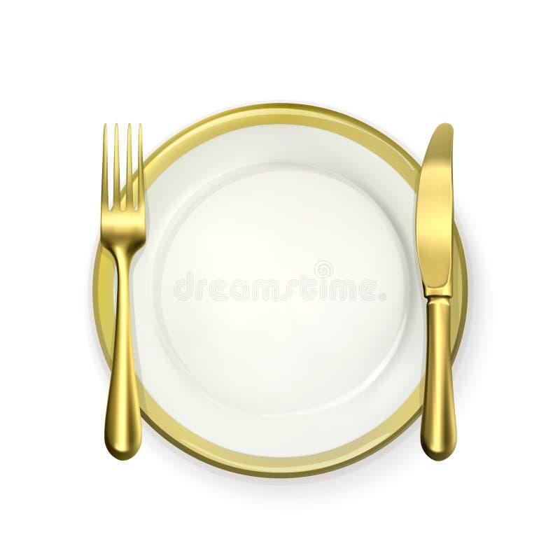 金晚餐餐位餐具 库存例证