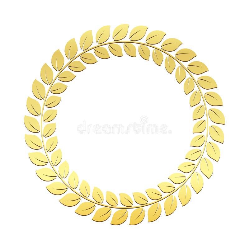 金月桂树传染媒介花圈 优胜者的奖 尊敬拥护胜利和成就的挑战标志的战利品 皇族释放例证