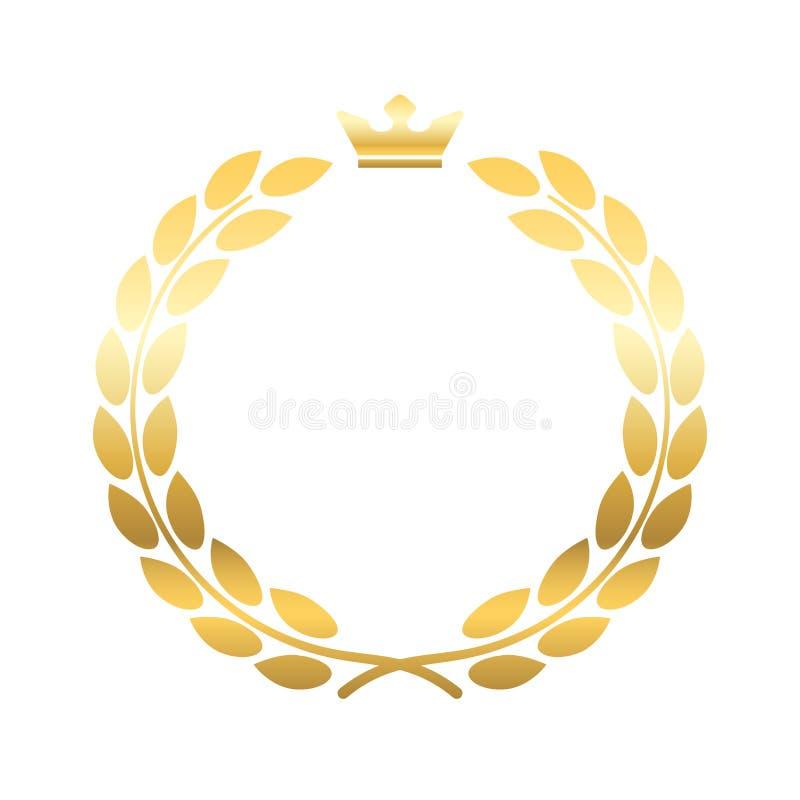 金月桂树花圈冠象征 库存例证