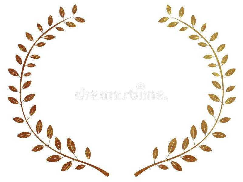 金月桂树花圈 向量例证