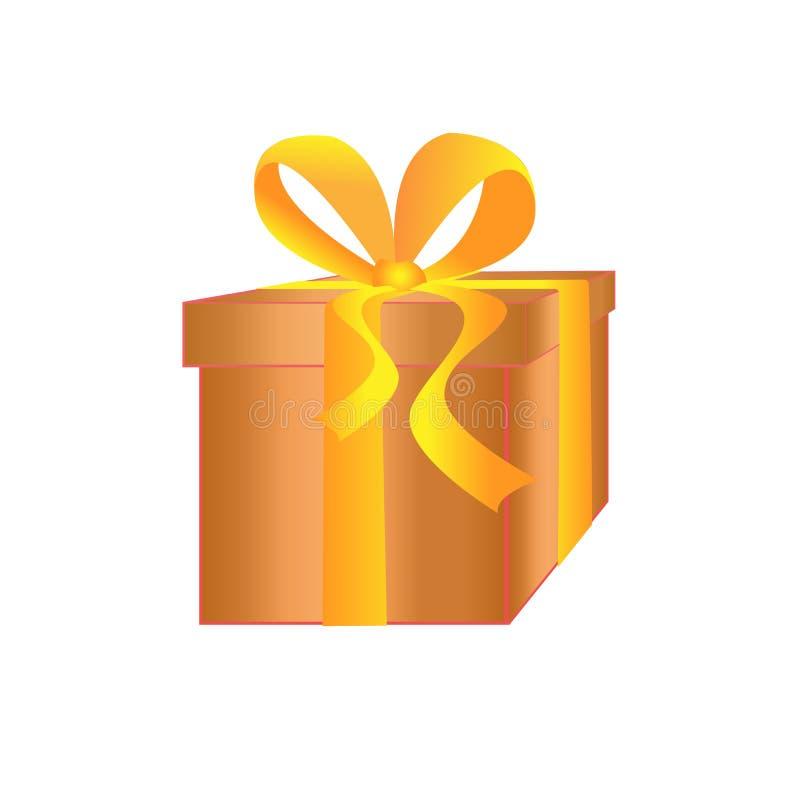 金有黄色丝带的礼物盒 一件礼物新年,圣诞节,生日,华伦泰` s天 库存图片