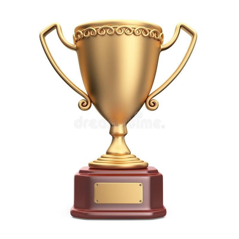 金杯子优胜者战利品 3D查出的图标 向量例证