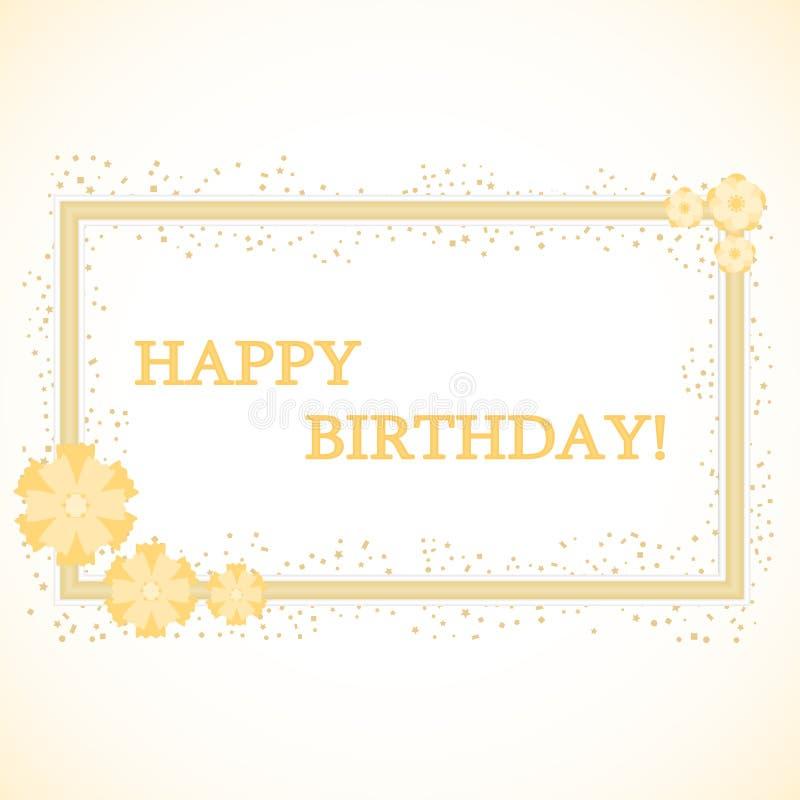 金框架与题字生日快乐 一个现实框架与在轻的背景的一个生日 库存例证