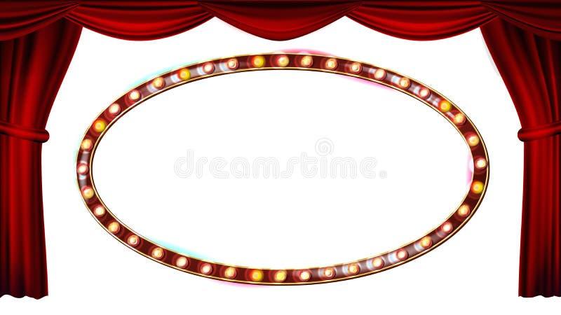 金框架电灯泡传染媒介 背景查出的白色 概念窗帘介绍红色显示阶段剧院 丝绸纺织品 光亮的减速火箭的光 库存例证