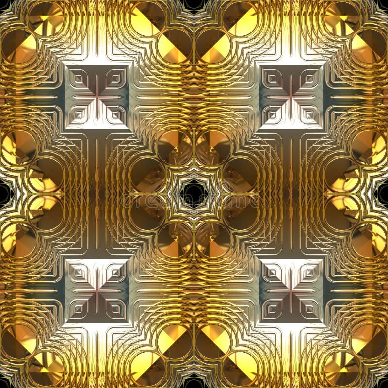金模式反映无缝的银 皇族释放例证