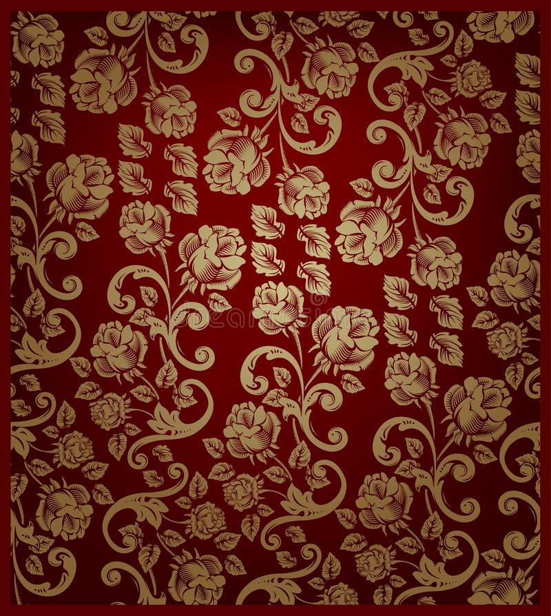 金模式无缝红色的玫瑰 库存例证