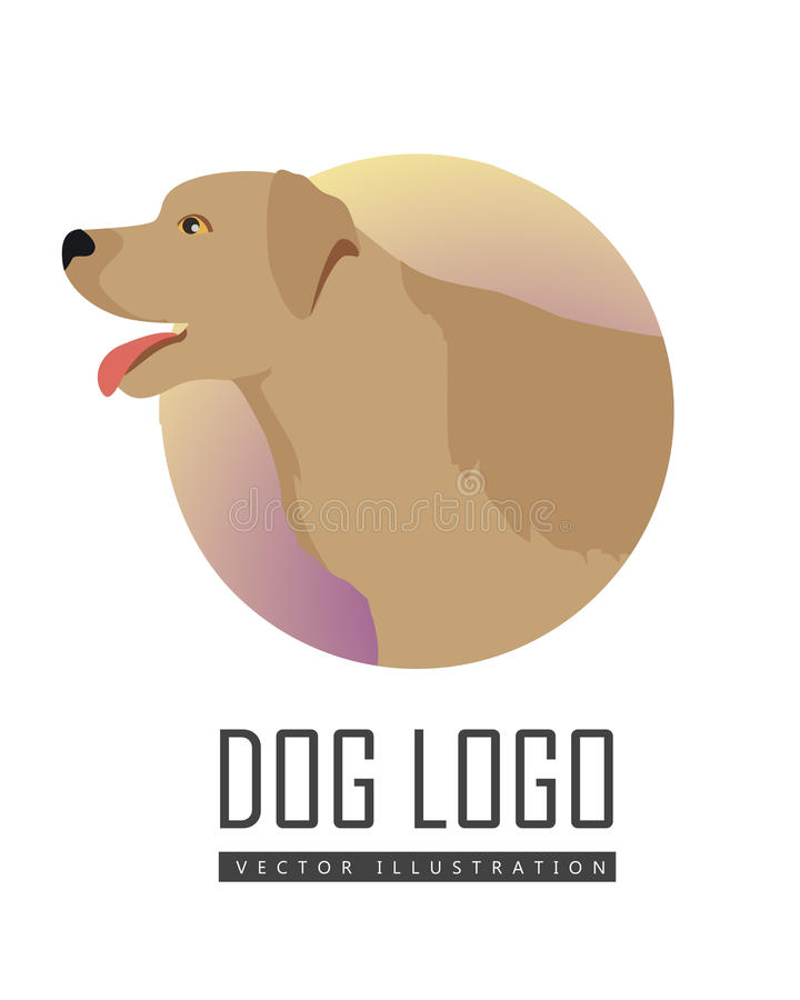 金毛猎犬在白色背景的狗商标 向量例证