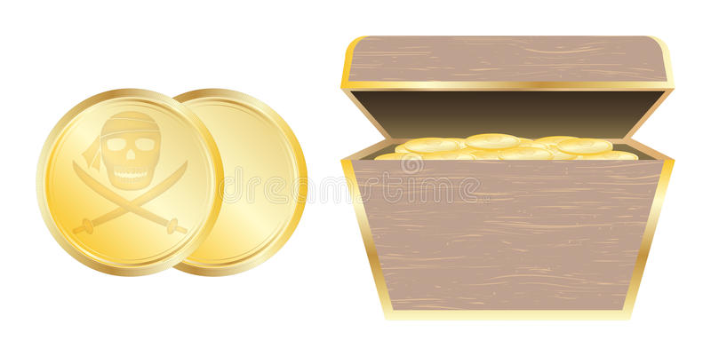 金海盗硬币和宝物箱 向量例证