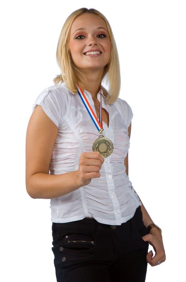 金牌妇女年轻人 库存图片