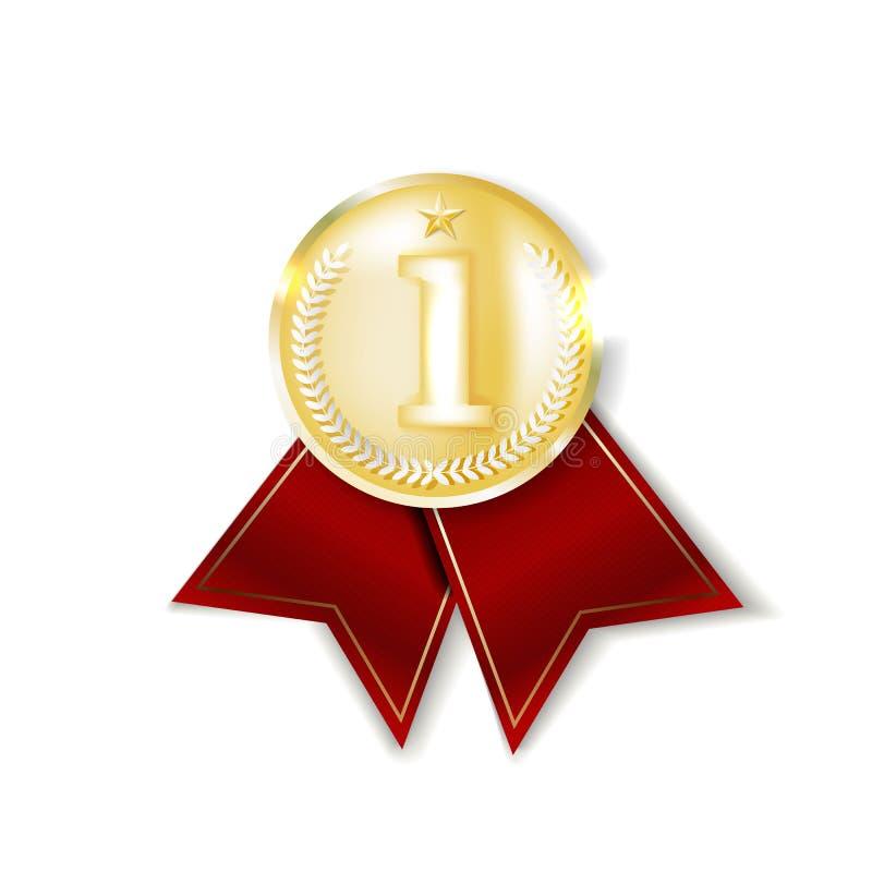 金牌 金黄第1枚地方徽章 体育比赛金黄挑战奖 红色丝带 库存例证