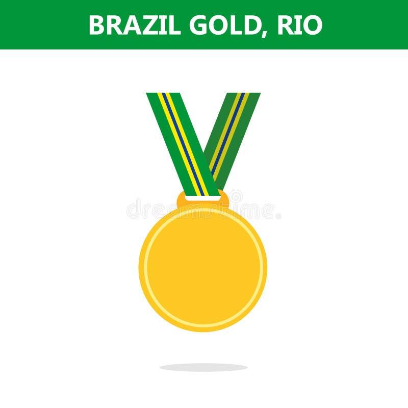 金牌 面包渣 里约 奥运会2016年 也corel凹道例证向量 平的样式 库存例证