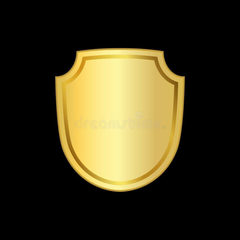 金盾形状象 3D在黑背景隔绝的金黄象征标志 安全,力量,保护的标志 荒地 皇族释放例证