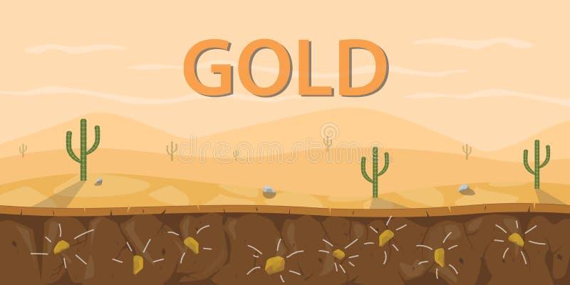 金矿石头土壤层数用在沙漠区域的仙人掌 皇族释放例证