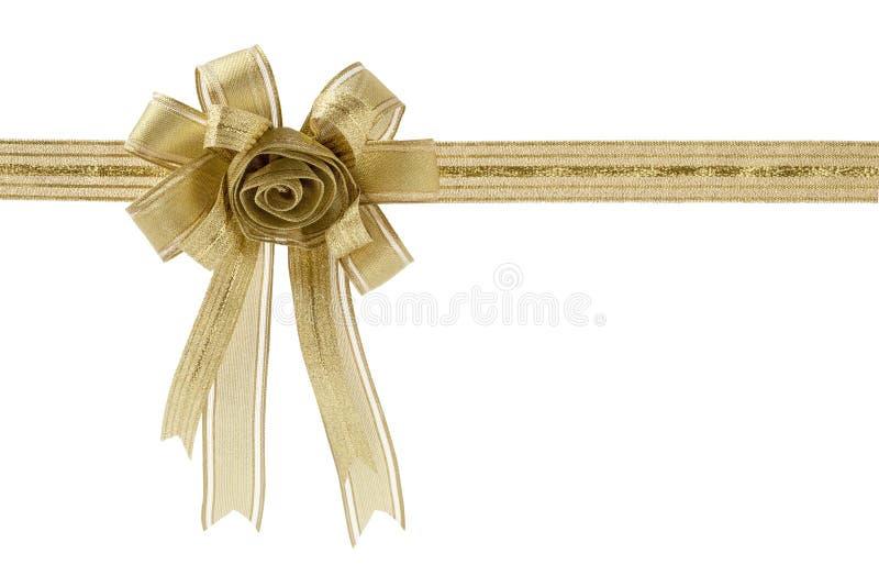 金礼物丝带和弓,隔绝在白色背景 免版税库存照片