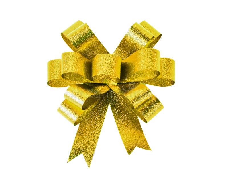 金礼物弓 丝带 查出在白色 库存图片