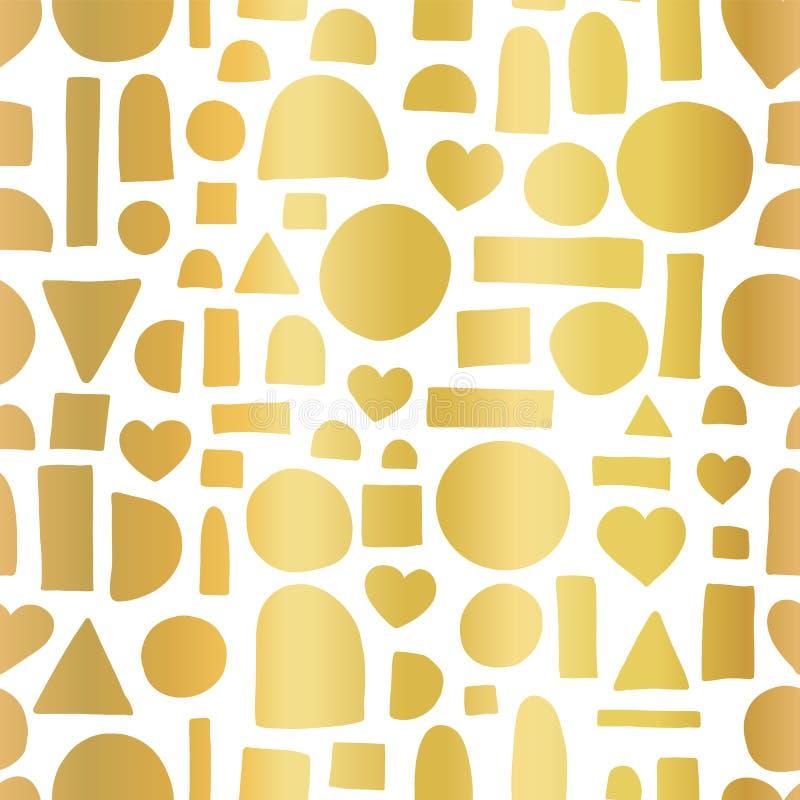 金箔几何乱画形状无缝的传染媒介样式 手拉的金黄心脏,圈子,半圈,长方形摘要形状 皇族释放例证
