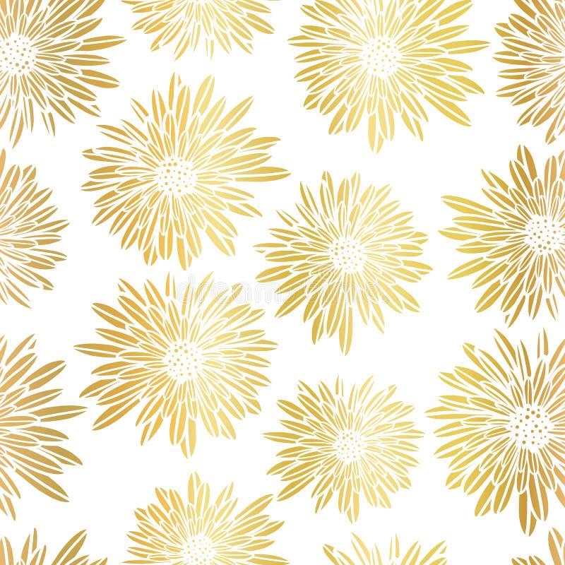 金箔翠菊大丽花开花典雅的无缝的传染媒介样式 金属金黄发光的花卉背景 拉长的现有量 皇族释放例证