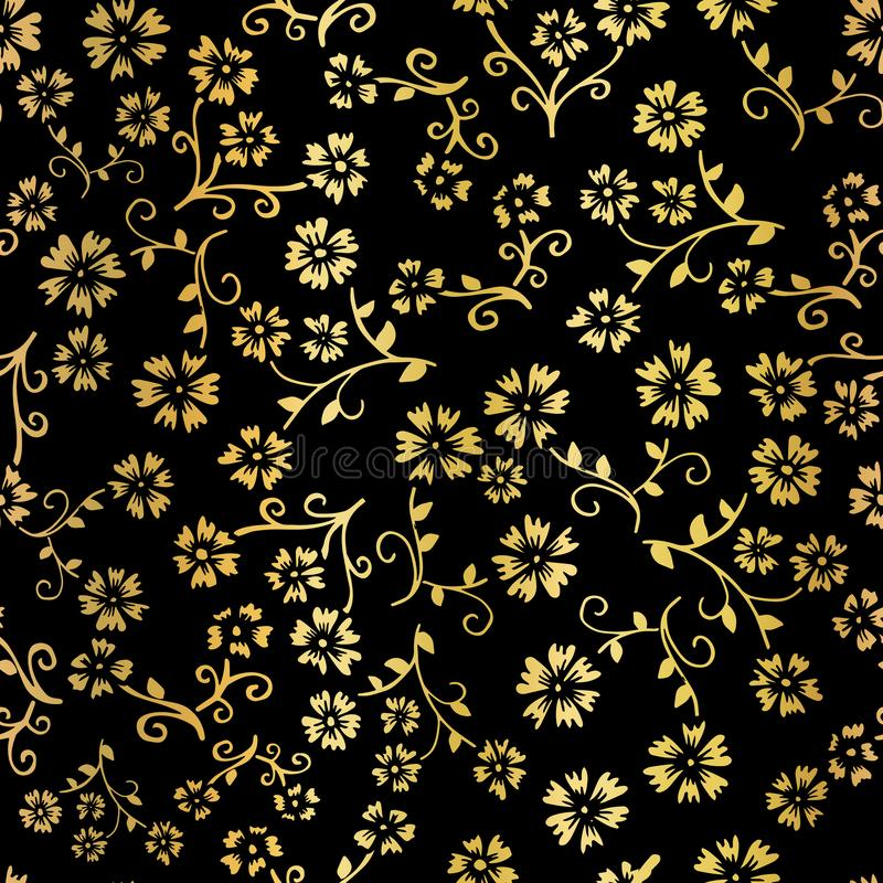 金箔花传染媒介无缝的样式背景 在黑背景的典雅的金黄florals 数字式网的典雅的设计 皇族释放例证