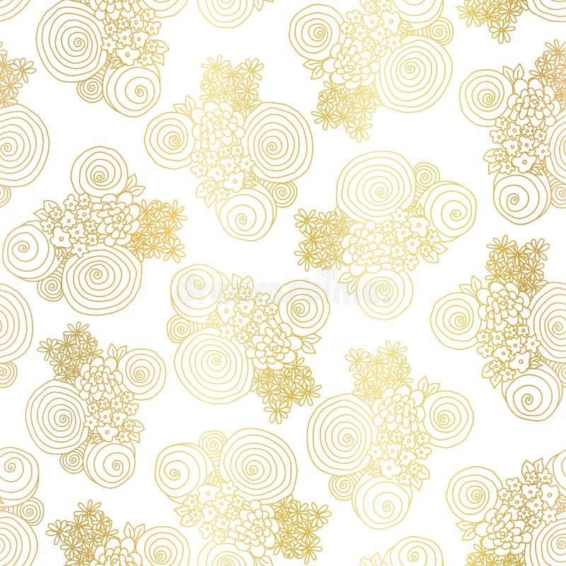 金箔花花束无缝的传染媒介样式背景 向量例证