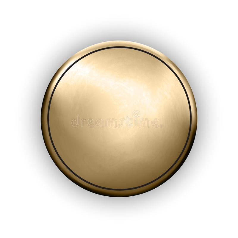 金粗砺的空白的按钮织地不很细战利品模板 皇族释放例证