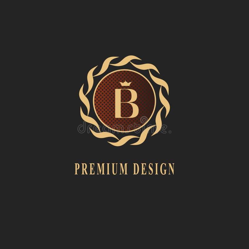 金组合图案设计 豪华容量商标模板 3d线装饰品 与信件B的象征企业标志的,徽章,冠, 皇族释放例证