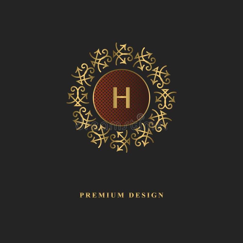 金组合图案设计 豪华容量商标模板 3d线装饰品 与信件H的象征企业标志的,徽章,冠, 库存例证