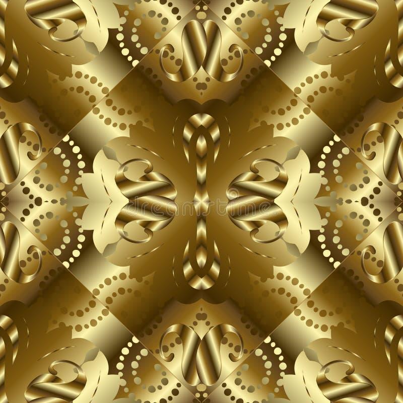 金织地不很细3d佩兹利无缝的样式 金黄表面abstra 库存例证